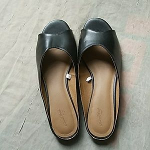 Ladies black slip on shoes